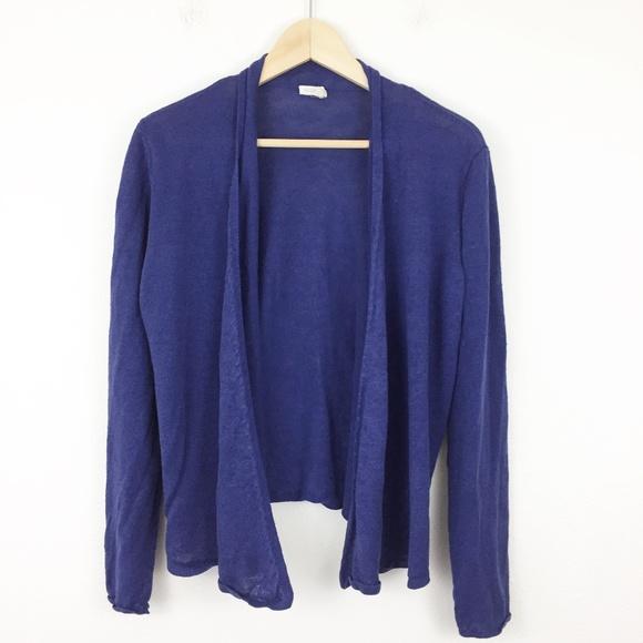 Eileen Fisher Sweaters - Eileen Fisher Blue Linen Open Front Sweater